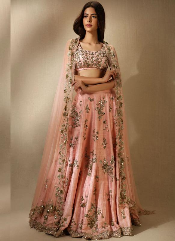 Marvellous Orange Silk Embroidered Wrok Bridal Designer Lehenga Choli