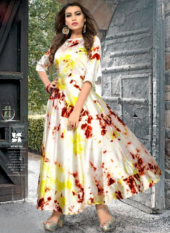 7678edd16ca Lovely Cream Satin Silk Printed Party Wear Kurti -- miraamall - USA UK  Canada