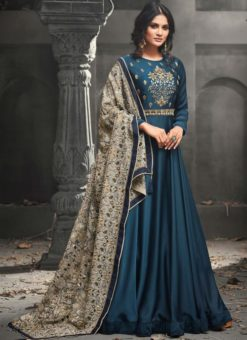Magnificent Teal Blue Satin Silk Designer Party Wear Anarkali Suit