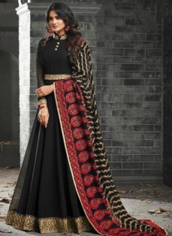 Glorious Black Georgette Designer Party Wear Anarkali Suit