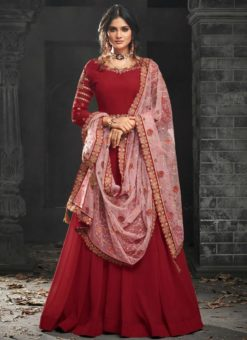 Lovely Red Georgette Party Wear Designer Anarkali Suit