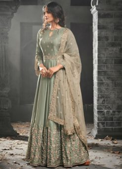 Charming Beige Satin Silk Party Wear Designer Anarkali Suit