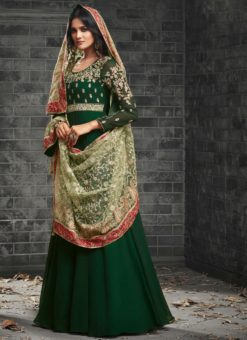Excellent Green Georgette Designer Party Wear Anarkali Suit