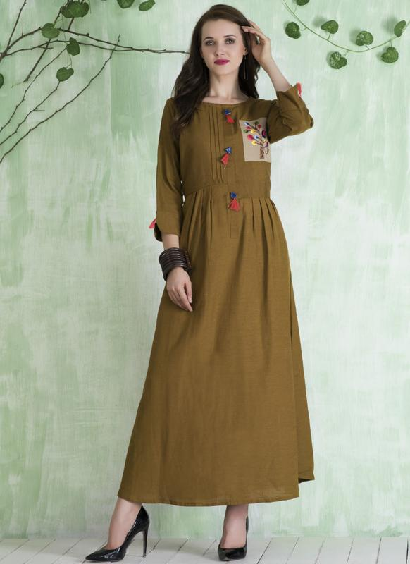 b57138dbdc6 Beautiful Green Cotton Designer Party Wear Kurti -- miraamall - USA ...