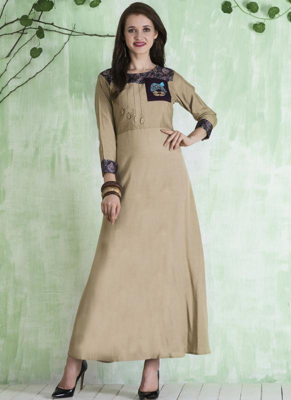 8a6ffea6697 Excellent Cream Cotton Designer Party Wear Kurti -- miraamall - USA ...