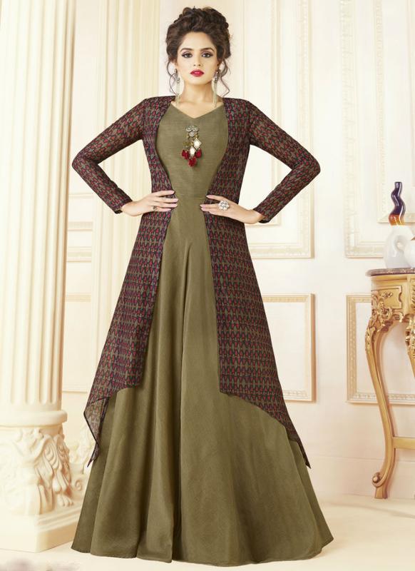 Beautiful Green Cotton Printed Designer Gown -- miraamall - USA UK ...