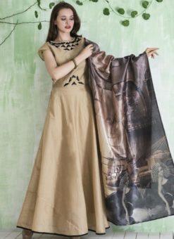 Charming Beige Chanderi Silk Party Wear Anarkali Suit