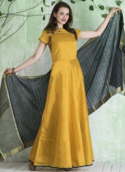 Elegant Yellow Chanderi Silk Party Wear Anarkali Suit