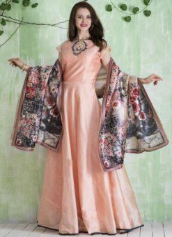 Attractive Peach Chanderi Silk Party Wear Anarkali Suit