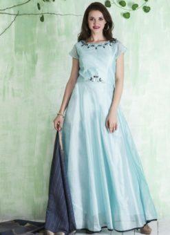 Alluring Aqua Blue Chanderi Silk Party Wear Anarkali Suit