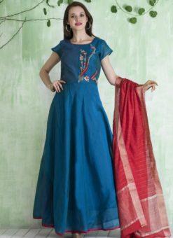 Beautiful Blue Chanderi Silk Party Wear Anarkali Suit