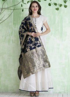 Amazing White Chanderi Silk Party Wear Anarkali Suit