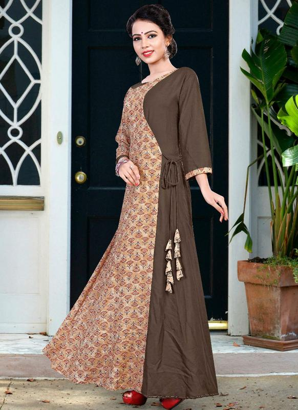 e3364452efd Elegant Brown Cotton Party Wear Designer Printed Kurti -- miraamall - USA  UK Canada