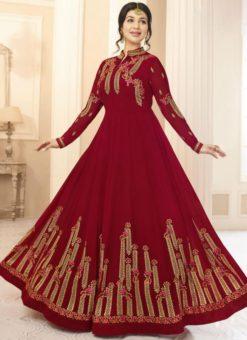 Lovely Maroon Georgette Designer Embroidered Work Anarkali Salwar Kameez