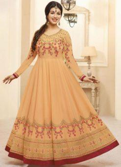 Beautiful Orange Georgette Designer Party Wear Anarkali Salwar Kameez