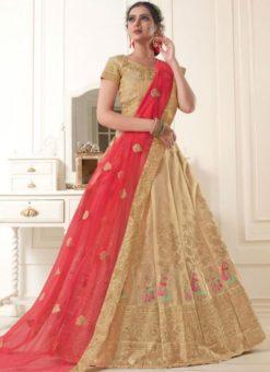 Lovely Beige Silk Zari Work Designer Wedding Lehenga Choli