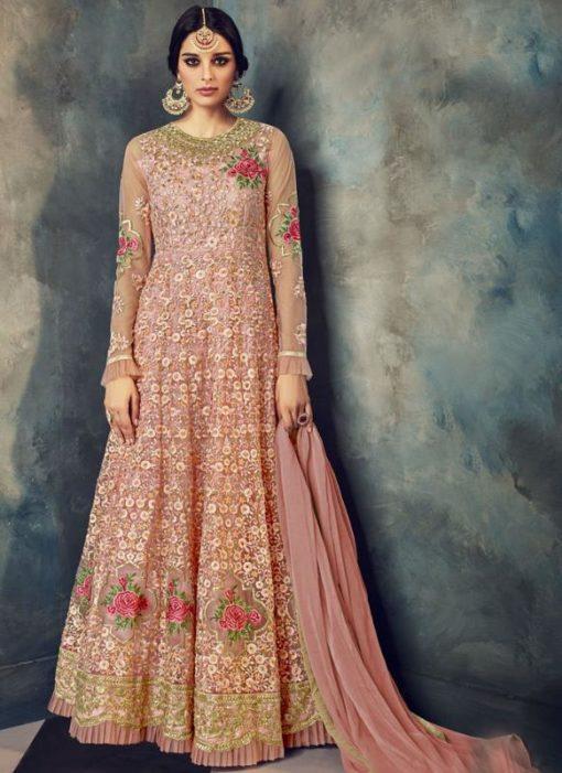 Lovely Pink Net Designer Embroidered Work Party Wear Anarkali Sawlar Kameez