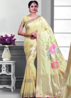 Delightful Cream Silk Zari Print Designer Saree