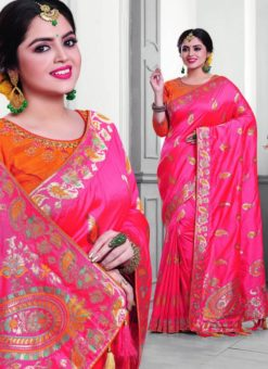 Beautiful Pink Silk Zari Print Designer Saree