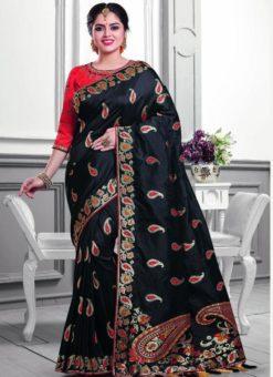 Elegant Black Silk Zari Print Designer Saree