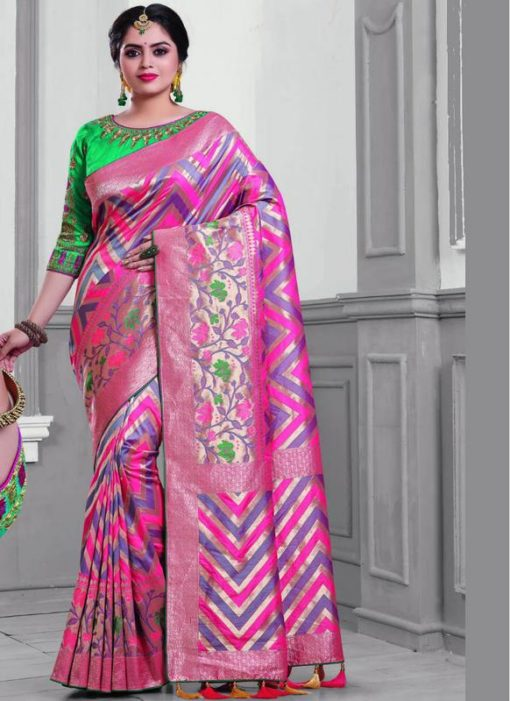 Attractive Grey And Pink Silk Designer Saree