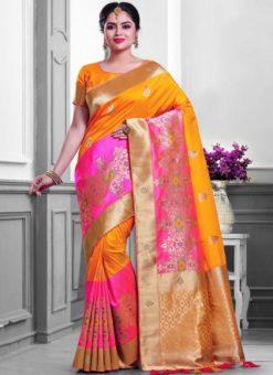 Wonderful Mustard And Pink Silk Zari Print Designer Saree