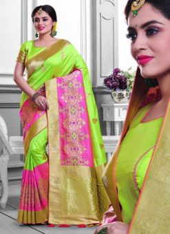 Excellent Green Silk Zari Print Designer Saree