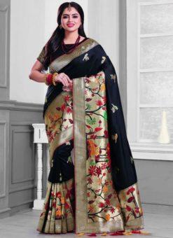 Alluring Black Silk Zari Print Designer Saree