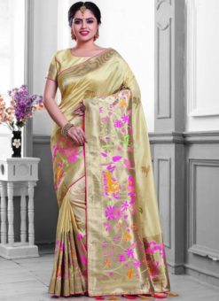 Appealing Cream Silk Zari Print Designer Saree