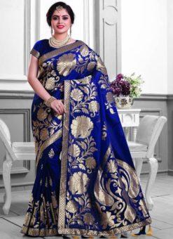 Lovable Blue Silk Zari Print Designer Saree