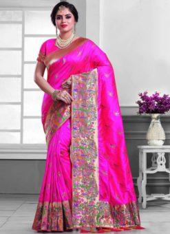 Charming Pink Silk Zari Print Designer Saree