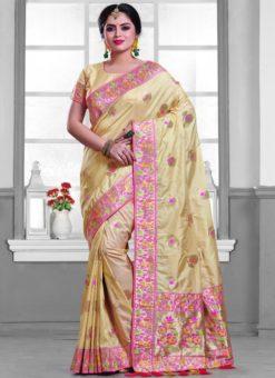 Winsome Cream Silk Zari Print Designer Saree