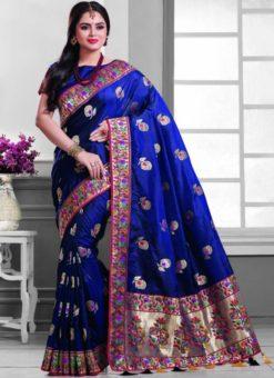 Fetching Blue Silk Zari Print Designer Saree