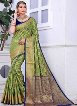 Glorious Green Banarasi Jacquard Zari Print Saree