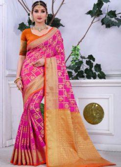 Lovely Pink Banarasi Jacquard Zari Print Saree