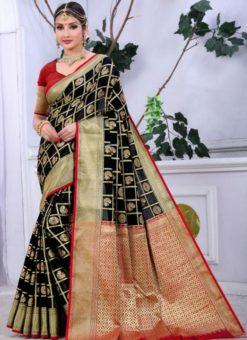 Lavish Black Banarasi Jacquard Zari Print Saree