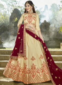 Delightful Beige Silk Designer Embroidered Work Wedding Lehenga Choli