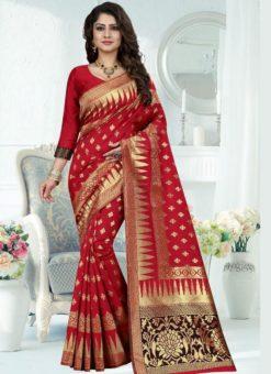 Stunning Red Silk Zari Print Designer Saree