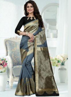Marvellous Grey Silk Zari Print Designer Saree