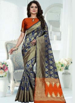 Wonderful Blue Silk Zari Print Designer Saree