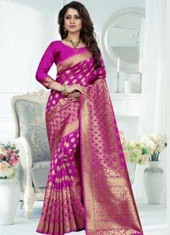 Glorious Pink Silk Zari Print Designer Saree