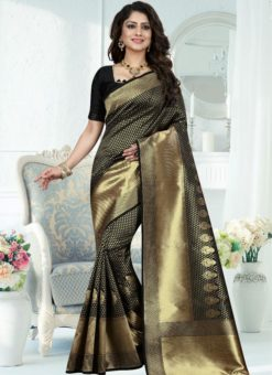 Fabulous Black And Gold Zari Print Designer Saree