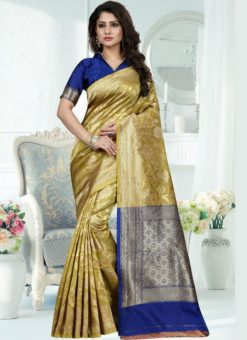 Excellent Green Silk Zari Print Designer Saree