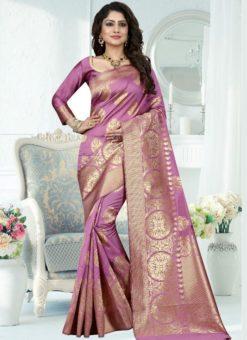Superb Lavendor Silk Zari Print Designer Saree