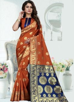 Superior Orange Silk Zari Print Designer Saree