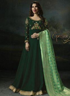 Exquisite Green Georgette Designer Anarkali Sawlar Kameez