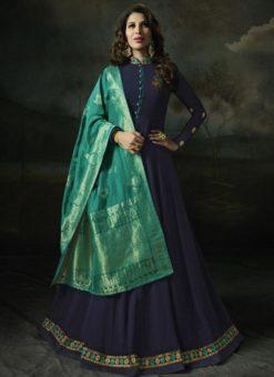 Graceful Navy Blue Georgette Designer Anarkali Salwar Kameez