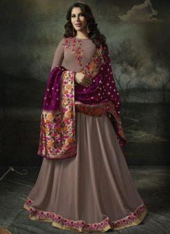 Elegant Wine Georgette Designer Anarkali Salwar Kameez
