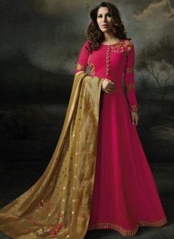 Fashionable Pink Georgette Designer Anarkali Salwar Kameez