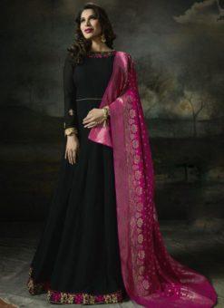 Stylish Black Georgette Designer Anarkali Salwar Kameez